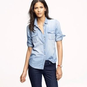 """J. Crew """"The Keeper"""" Chambray Shirt Size 4"""